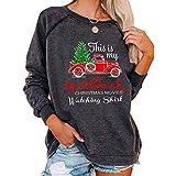 JIAOTU Womens Christmas Movies Watching Shirt Xmas Truck Tree This is My Xmas Watching Shirt Long Sleeve Tops XL