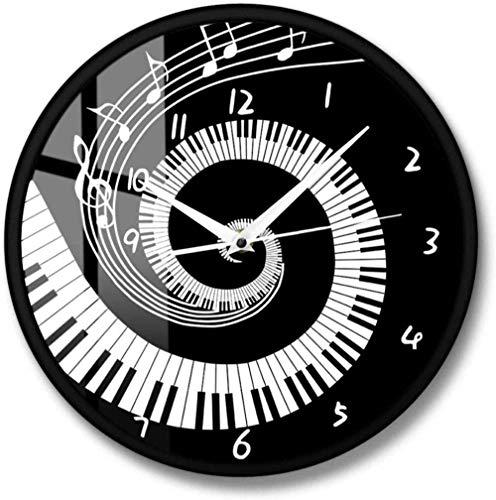 Relojes De Pared 12 Pulgadas Teclas De Piano Elegantes Reloj De Pared Moderno En Blanco Y Negro Notas Musicales Ola Teclado Musical Redondo Reloj De Pared Amante De La Música Regalo De Pianista
