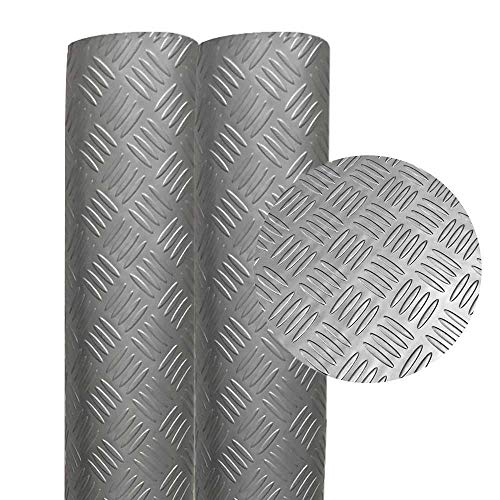 MMG PVC Flooring Checker Textured Floor Runner for Garages, Gyms, Boats, Cars, and Decoration - 2mm Thick (Silver, 2mm x 4 x 5 Feet)