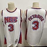 XSJY Jersey De Baloncesto para Hombre - NBA Retro Brooklyn Nets # 3 Drazen Petrovic Basketball T-Shirt Jersey Transpirable,B,S:165~170cm/50~65kg