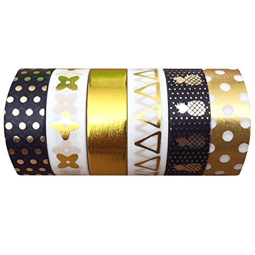AllyDrew Golden Pineapple Gold Foil & Black Washi Tapes Masking Tapes, set 6