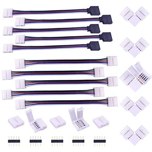 LED Strip Verbinder 5 polig LED Streifen Eckverbinder Verteiler LED Band Schnellverbinder LED Stripe Verlängerung Anschlusskabel LED Stecker Adapter Connector für 10mm Breite SMD 5050 RGBW LED Strip