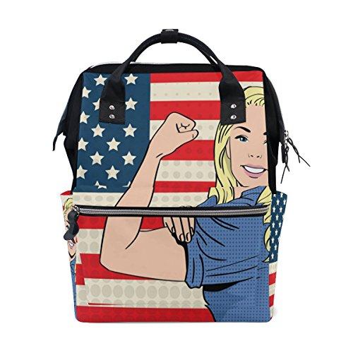 COOSUN America Vlag Pop Nappy Changing Bag Luier Rugzak met geïsoleerde zakken wandelwagen banden, grote capaciteit multifunctionele stijlvolle luiertas voor mama papa outdoor