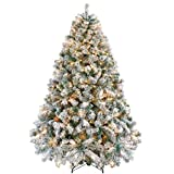 Yaheetech Pre-lit Artificial Christmas Tree with Incandescent Warm White Lights, Snow Flocked Full Prelighted Xmas Tree with Foldable Stand(6ft, White)
