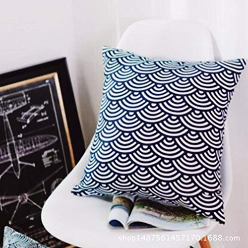 Japanese style simple cotton linen pillow Chinese style home living room square pillowcase@Qinghai wave set_50*50cm