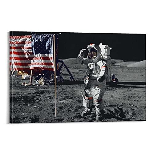 Astronauten Land Mond Flaggen Universum Geschichte Poster Wandkunst Leinwanddrucke Hängendes Bild Poster Cool Kunstwerke Gemälde Home Decor Poster Geschenk 50 x 75 cm