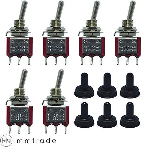 mmtrade | 6x Mini-Kippschalter mit Schutzkappe, Wippschalter, ON-ON Stellung 2 Position Metallhebel, 6A/125VAC, 3A/250VAC