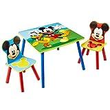 Mickey Mouse Conjunto de Mesa y Dos sillas, Madera, Azul, 63.00x63.00x45.00 cm
