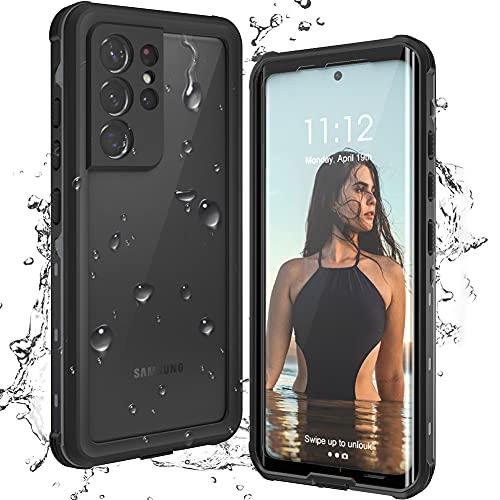 T-Bee für Samsung Galaxy S21 Ultra 5G Hülle Wasserdicht 360 Grad Stoßfest Handyhülle Outdoor Eingebaute Displayschutz Transparent Schutzhülle Kompatibel mit Samsung S21 Ultra 6.8' Schwarz