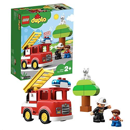 LEGO 10901 DUPLO Feuerwehrauto mit Feuerwehrmann-Figur, Licht & Geräusche, Spielzeug für Kinder im Alter von 2 bis 5 Jahren