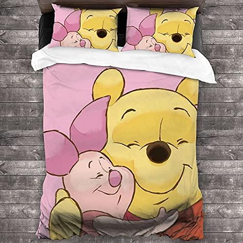 cuicui Winnie The Pooh Bear - Juego de cama (funda nórdica y 2 fundas de almohada, regalo para niños (A05, 140 x 210 cm + 80 x 80 cm x 2)