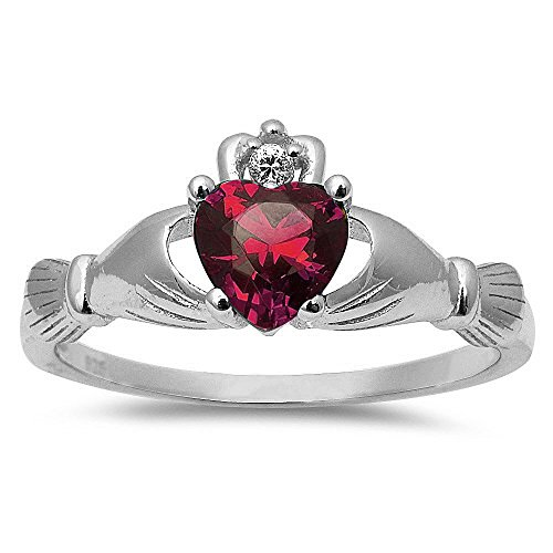 Oxford Diamond Co Simulated Ruby Irish Claddagh Heart Cubic Zirconia Ring .925 Sterling Silver Ring Size 3
