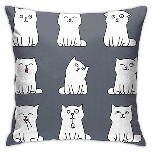 Ahdyr Nine Cute White Kittens Cushion Throw Pillow Cover Decorative Pillow Case For Sofa Bedroom 18 X 18 Inch