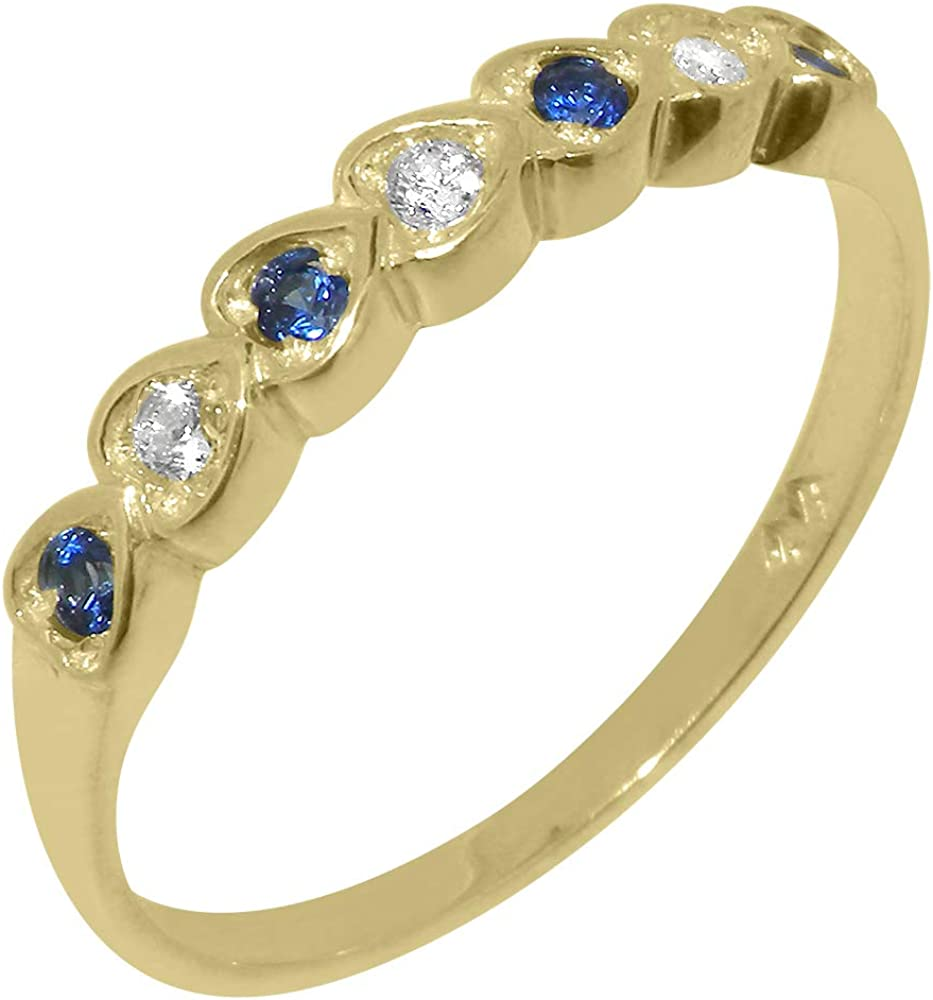 Solid 18k Yellow Gold Natural Diamond & Sapphire Womens Eternity Ring - Sizes 4 to 12 Available