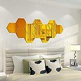 XIHUANNI 12 pegatinas de pared de espejo de hexágonos de resorte superior, pegatinas de pared de espejo acrílico 3D, decoración moderna para el hogar