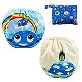 LEADSTAR Riutilizzabile Pannolini da Nuoto, Confezione da 2 Baby Nappy Costume Pannolino P...