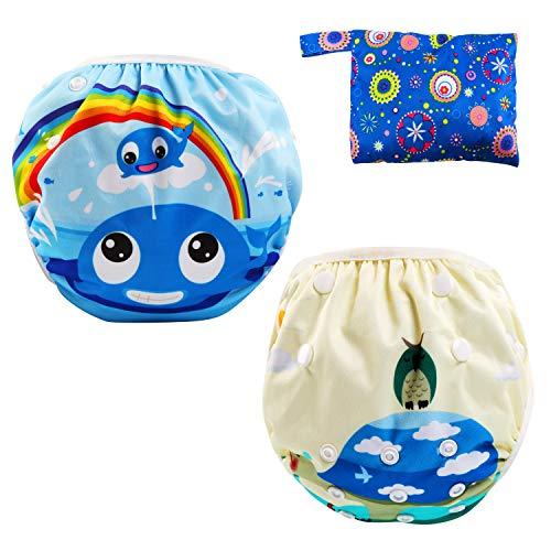 LEADSTAR Baby Schwimmhose, 2-teilig Badewindelhose Badehose, Bequeme Waschbare Wiederverwendbare Baby Schwimmwindeln mit verstellbaren Snap für Mädchen Jungen 0-3 Jahre für Schwimmen Lektionen Urlaub
