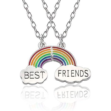 Collar con diseño de nubes de colores de arcoíris para mujer, diseño de arcoíris, se separa en dos partes, de Mingjun