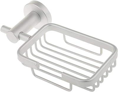 Delavala Wall Mounted Bath Vintage Shower Aluminium Soap Tray Holder Basket Dish Shelf for Home Bathroom (Silver, Standard Size)