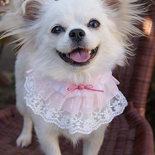 1 unid Mascota Lindo corazón Bufanda Bufanda Dulce Encaje Bufanda Rosa Babero Perro Cuello Bufanda Bufanda decoración Saliva Toalla para Cachorros-Rosa_XS
