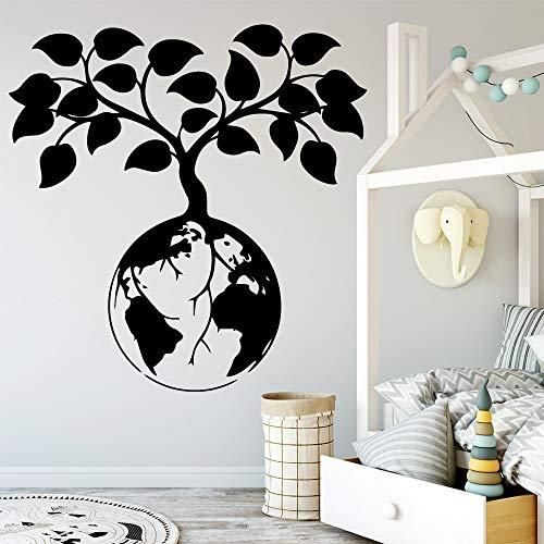 Pegatinas de pared de dibujos animados de árbol del mundo,decoración artística para habitación de niños y bebés,pegatinas de pared para decoración del hogar DIY,papel tapiz A3 42x43cm