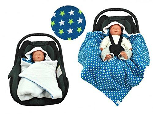 Einschlagdecke für die Babyschale Fußsack für kalte Tage in verschiedenen Farben von HOBEA-Germany, Farben Winterdecken:weiß mit Sternen