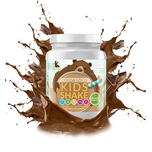 Bare Necessities Kids Nutritional Protein Shake. Dairy Free, Gluten Free, Soy Free, Non-GMO, and Made with Organic Ingredients. 10g Protein (Pea & Collagen) and 11 Vitamins. (Chocolate, 15 Servings)