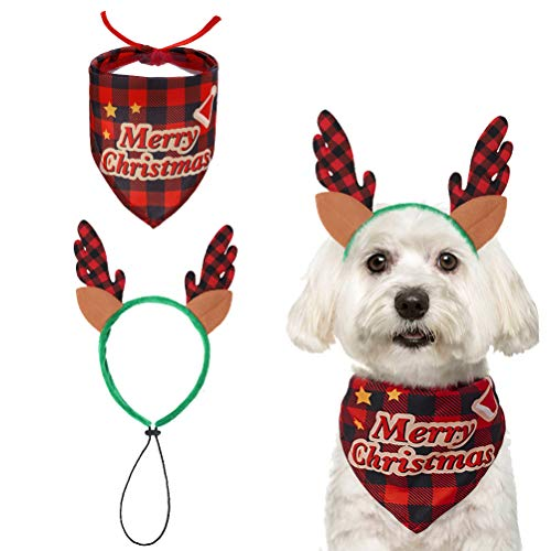 Christmas Dog Bandana with Reindeer Headband Costume, Xmas Classic Plaid Red Scarf for Dogs, Merry Christmas Themed Decoration Supplies