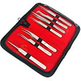 G.S Professional Tweezers Set - Precision Tweezers with Travel Case - Stainless Steel Tweezers for Plucking, Watchmakers, Jewelry, Electronic, Craft (Silver 7pcs)