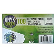 Onyx and Green 100-Pack Index Cards, 3 x 5-Inch, Ruled, Bamboo Paper (5801)