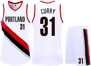 Jersey Set Portland Trail Blazers 31# Stephen Curry Basketball Jersey Sleeveless Vest Sports Shorts Sweatshirt Men's Fitness Competition Casual Set,White,2XS