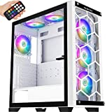 MUSETEX 2× USB 3.0,6 PCS ARGB Fans,Full Tower Case,Tempered Glass Panels,Voice Remote Control,PC Gaming Case Computer Chassis Support E-ATX
