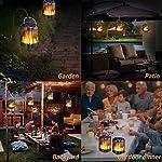 Ollivage Outdoor Solar Lanterns Dancing Flame Outdoor Hanging Lanterns Lights Solar Powered and USB Charging Torch Light Waterproof Auto Sensor for Garden Patio Yard, 1 Pack Garden Patio Backyard Outdoor Dinner