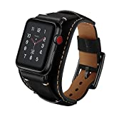 GOSETH Compatible with Apple Watch Band 44mm SE Apple Watch Band 42mm Series 3/2/1,Genuine Leather Strap with Stainless Clasp for iWatch Series 6 5 4 3 2 1 (Black, 42mm/44mm)