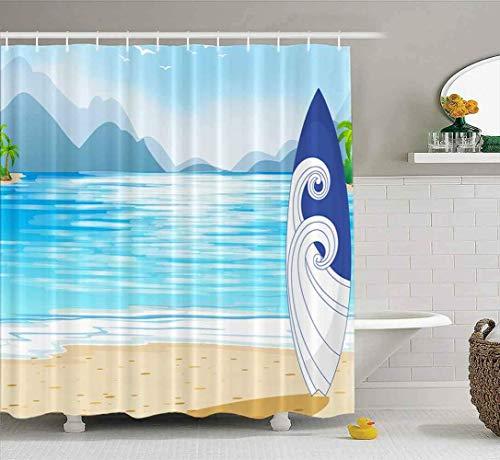 OPDJFH Cortina de ducha de bebé, cortina de ducha con ilustración vista al océano tabla de surf una cortina de ducha de 152 x 182 cm