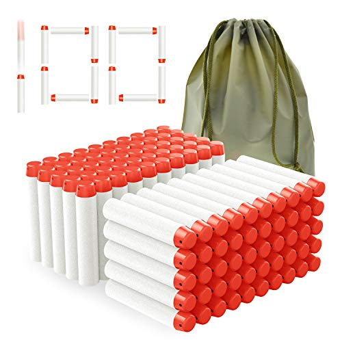 Coodoo Compatible Darts 100 PCS Refill Pack Bullets for Nerf Guns N-Strike Elite Series Blasters Toys for Nerf Party - Glow at Dark Bullets - White with Storage Bag