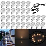 QACA 0.7' Tiny Warm White LED Deck Light Kit, Stainless Steel Waterproof Recessed Wood Decking Stairs Garden Yard Patio Decor Lamp Low Voltage Outdoor LED Lighting, Pack of 30
