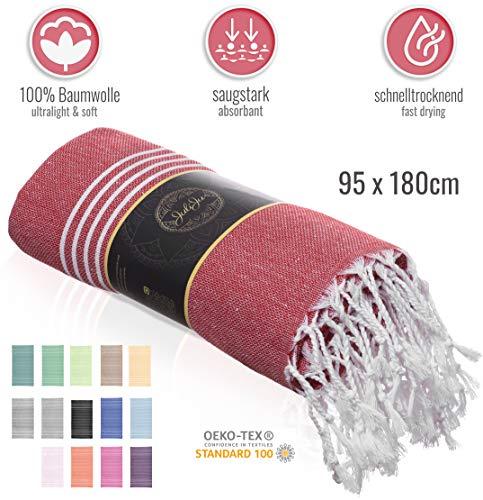 JuliJu XXL Badetuch Rot - 95 x 180 cm - 100% Baumwolle, dadurch hautverträglich und antiallergen - EIN nachhaltig produziertes Badelaken für die ganze Familie