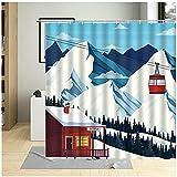 Winter Schnee Berg Baum Landschaft Cartoons Duschvorhang Seilbahn Ski Feld Hängende Gardinen Polyester Stoff Badewanne Dekor-180x180cm