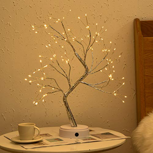 Byncceh 108LED Firefly Tree Lights- DIY Artificial Bonsai Tree Lights,USB/Battery-Powered Touch Switch Warm Fairy Lights Tree lamp for Christmas Party Home Decoration (Warm White Light)