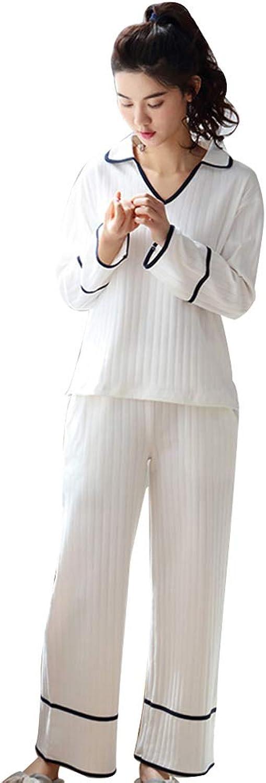 Striped Pajamas Women's Long Sleeve Cotton Pajamas Set White Loose Clothes Women's Sportswear (color   White, Size   L)