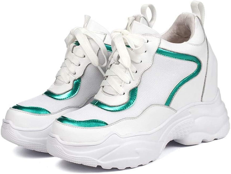 Zarbrina Womens Wedges Sneakers Air Mesh Hidden Heel Non-Skid Wear Resistant Vulcanize Lace Up Running shoes