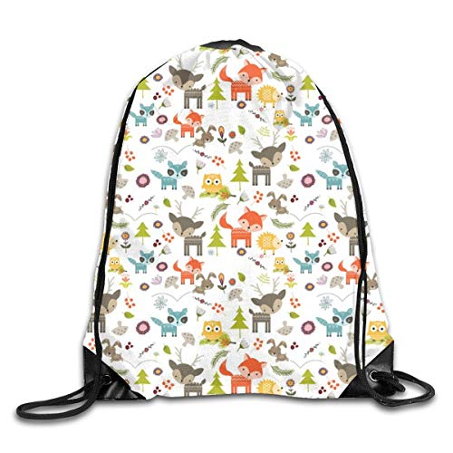 Lawenp Cute Woodland Creatures Pattern Drawstring Bag, Sports Cinch Sacks String Drawstring Backpack for Picnic Gym Sport Beach Yoga