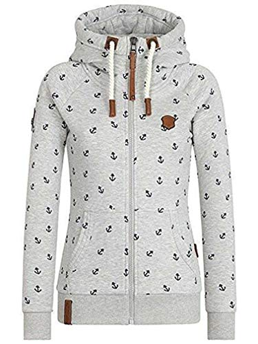 EwigYou Damen Baumwolle Kapuzenjacke Hoodie mit Fleece-Innenseite Sweatshirt Herbst Winter Große Größen Übergangsjacke Sweatjacke,Hellgrau,S / Tag XL