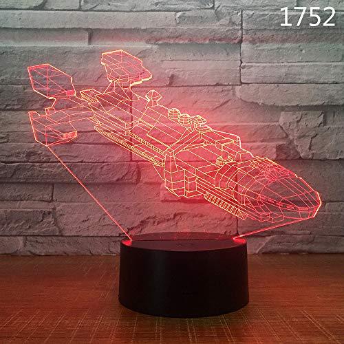 BFMBCHDJ Segelboot Segelschiff Yacht U-Boot Design 3D Nachtlampe Acryl Laser Illusion 7 Farbe Kinder Freunde Geschenk Spielzeug 1 stück
