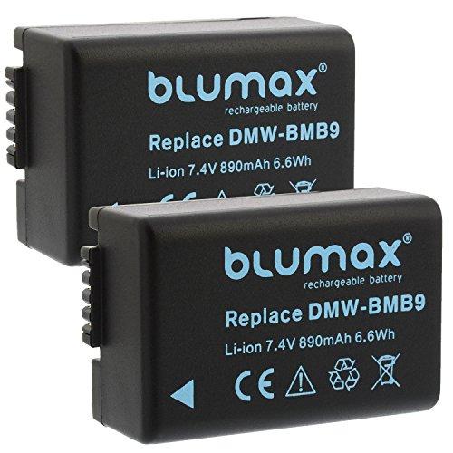 Blumax 2X Akku ersetzt DMW-BMB9 / DMW-BMB9E 890mAh kompatibel mit Panasonic Lumix DMC-FZ40-FZ45-FZ47-FZ48-FZ60-FZ62-FZ70-FZ72-FZ100-FZ150