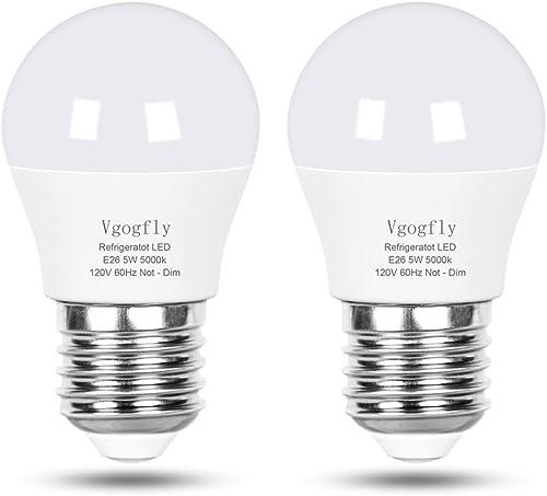 LED Refrigerator Light Bulb 40W Equivalent 120V A15 Fridge Waterproof Bulbs 5 W Daylight White 5000K E26 Medium Base ...