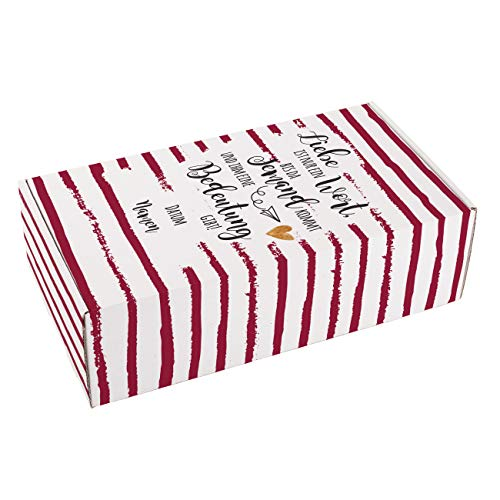 Herz & Heim® Romantische Hochzeitsgeschenk-Verpackung mit Liebsspruch und den Namen sowie Datum