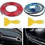 Liuer 2PCS Decorazione Interni Auto 10M Universale Modanature Cromata Auto Interni Stampaggio Strisce Flessibile per Automobili,Motori,Interni ed Esterni(Blu+Rosso)