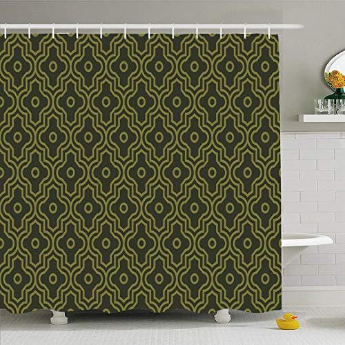 Duschvorhang Set mit Haken Olivgrün Verbesserte Dekoration Barock Marokkanische Textil Wiederbelebungsmuster Vintage Dekor Texturen Wasserdichtes Polyestergewebe Bad Dekor für Badezimmer